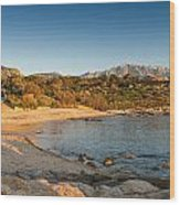 Sun Setting On The Beach At Arinella Plage In Corsica Wood Print