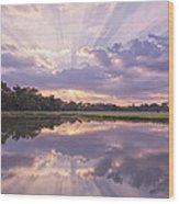 Sun Setting Over Pond Wood Print by Bonnie Barry