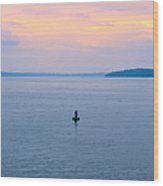 Sun Setting Over Puget Sound Wood Print