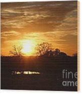 Sun Setting Over The Pond Wood Print