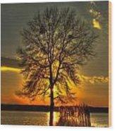 Sunblock A Sunset On Lake Oconee Wood Print