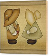 Sunbonnet Sue And Overall Sam Wood Print by Brenda Bryant