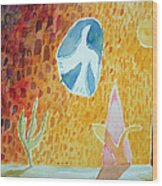 Sunburst, 1989 Wc On Paper Wood Print