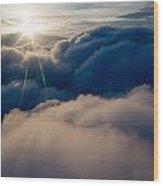 Sunburst Above The Clouds Wood Print