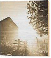 Sunburst On The Farm Wood Print