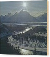 1m9313-sunburst Over Grand Teton, Wy Wood Print