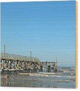 Sunday At Surfside Pier Wood Print