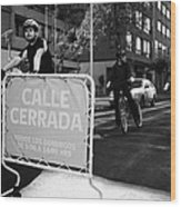sunday morning roads closed for cyclists and walkers Santiago Chile Wood Print