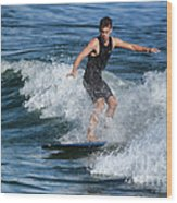 Sunday Morning Surfing Wood Print