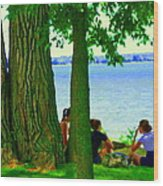 Sunday Picnic On The Lake Maple Trees At The Canal Pte Claire Montreal Waterscene Carole Spandau Wood Print