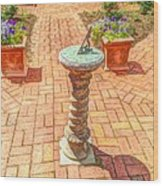 Sundial In The Garden Wood Print