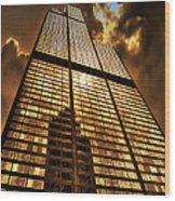 Sundown At Willis Sears Tower Wood Print
