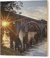 Sundown Bridge Wood Print