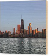 Sundown In The Chicago Canyons Wood Print