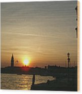 Sundown In Venice Wood Print