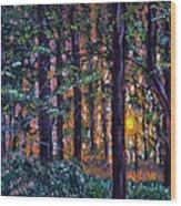 Sundown In Woods Wood Print