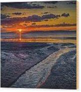 Sundown On Prestwick Beach Wood Print