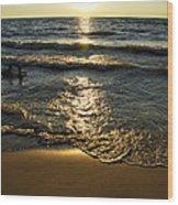 Sundown On The Beach Wood Print