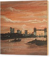 Sundown Over Tower Bridge London Wood Print