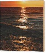 Sundown Reflections On Lake Michigan  01 Wood Print