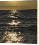 Sundown Reflections On The Waves Wood Print