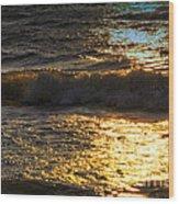 Sundown Shimmer On The Waves Wood Print