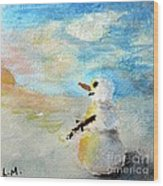 Sundown Snowman Wood Print