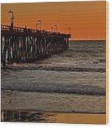 Sundown Surfing Wood Print
