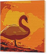 Sundown Swan Wood Print