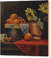 Sunflower And Fruits Wood Print
