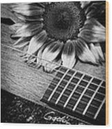 Sunflower And Guitar Wood Print