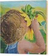 Sunflower Annie Wood Print