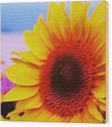 Sunflower At Beach Wood Print