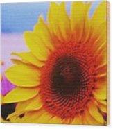 Sunflower At Beach Wood Print
