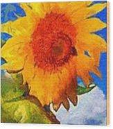 Sunflower - Bee Happy Wood Print