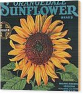 Sunflower Brand Crate Label Wood Print