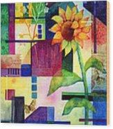 Sunflower Collage 2 Wood Print