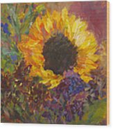 Sunflower Dance Original Painting Impressionist Wood Print