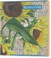 Sunflower Dictionary 1 Wood Print by Debbie DeWitt