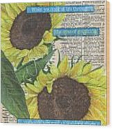 Sunflower Dictionary 2 Wood Print by Debbie DeWitt