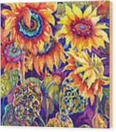 Sunflower Garden Wood Print by Ann  Nicholson