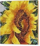 Sunflower Heart Wood Print