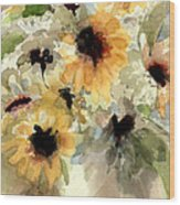 Sunflower Impressions Wood Print