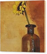 Sunflower In A Brown Bottle Wood Print