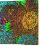Sunflower In Brown Wood Print