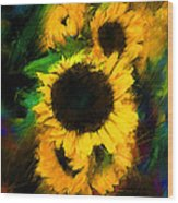 Sunflower In Motion Wood Print