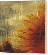 Sunflower In The Rain Wood Print