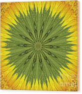 Sunflower Kaleidoscope 3 Wood Print