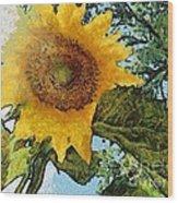 Sunflower Light Wood Print