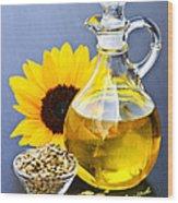 Sunflower Oil Bottle Wood Print